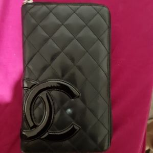 Chanel Cambon Zip Around Lambskin Quilted Long Wallet